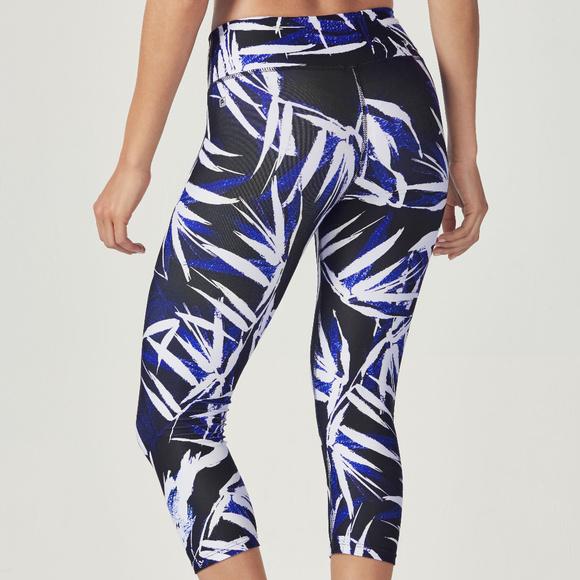 ee02b8577b2f9f Fabletics Pants | Salar Capri La Palma Print Nwt L Blue | Poshmark